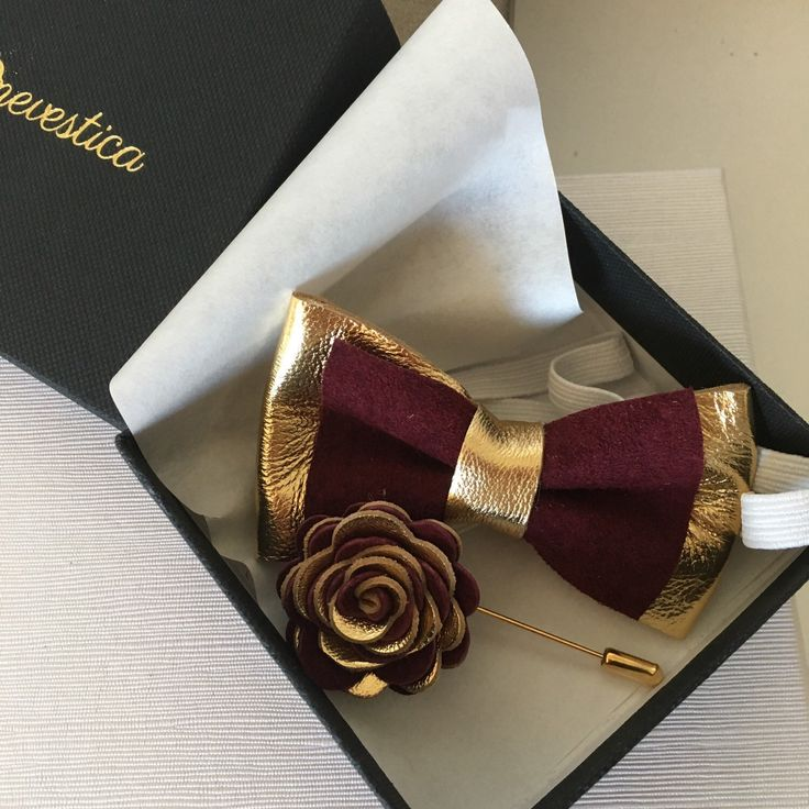 Toddler gold and burgundy bow tie and