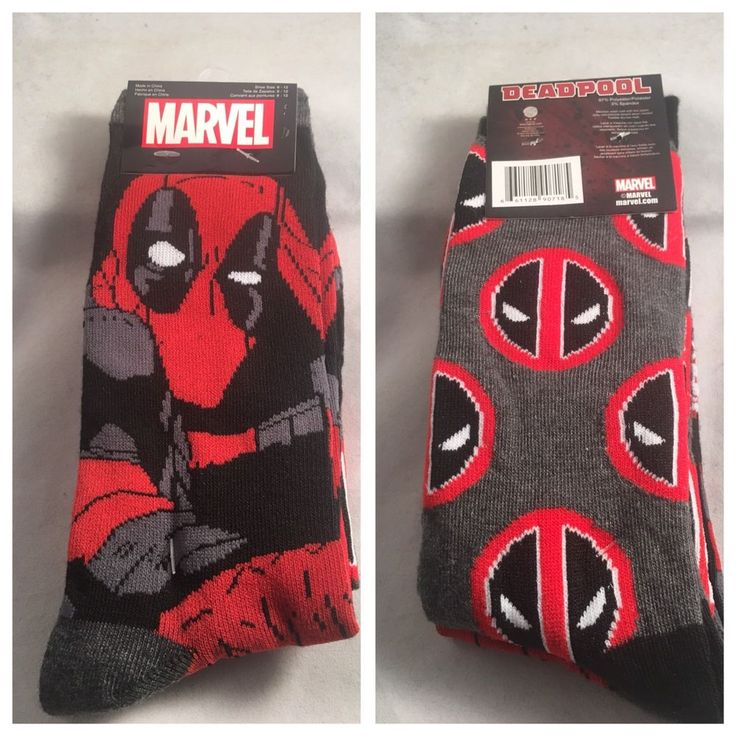 2 Pair Marvel Comics Dead Pool Mens Crew Socks Shoe Size 6-12 Gift Deadpool (S4) #Marvel #Socks #deadpool #gifts