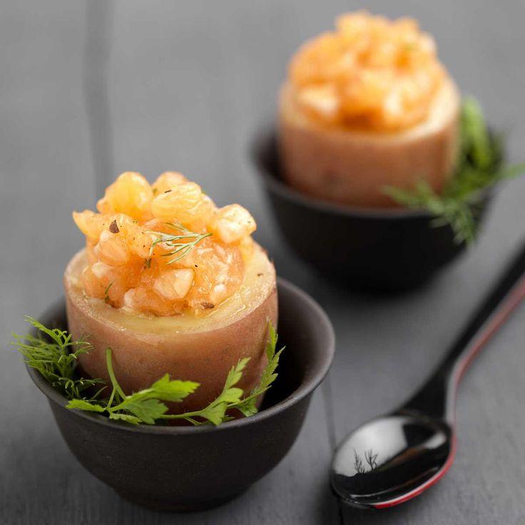 Recette coquetier de pomme de terre au tartare de saumon -...