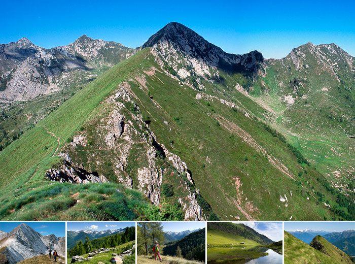 MONTE COMBANA - Impropriamente indicato come Monte Combana sulle carte e denominato da alcuni Cima della Bianca, è, nell'inventario dei toponimi di Rasura, Munt de la Rusèta. E' una bella piramide a base perfettamente triangolare da cui si dipartono tre creste: verso il Monte Stavello a Sud-Ovest, il Monte Olano a Nord e la Cima della Rosetta a Est. Bella la vista sulla Val Lesina, sulla foce dell'Adda e sui monti della Valchiavenna.