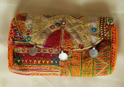 Vintage Kutch Embroidery Clutch With Coins (Design 18)