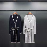 Dur Bonbon 2016 Early Autumn Runaway British Preppy Wool Dress Women Casual Single Breasted Striped Wool Pajama Dress With Belt