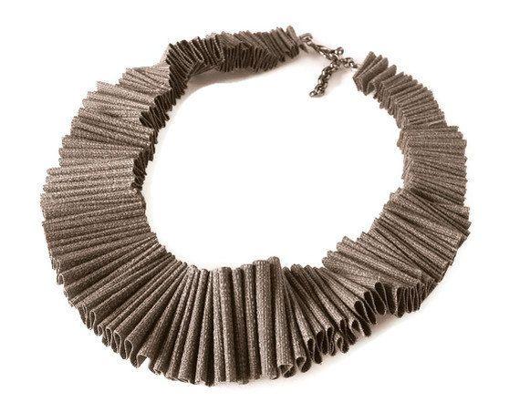 ruffle textile collar, ruffled bib necklace,  avant garde jewelry, modern fashion trend, driftwood pantone. $70.00, via Etsy.