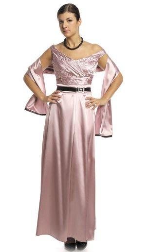 Rochie lunga de seara din saten, de culoare roze, cu sal - Rochie de seara, de culoare roze, cu sal si decolteu in V, fronsat si petrecut, cu bretele pe umar. Centura cu catarama este de piele, iar fusta porneste din talie in pliuri finute. Este o rochie eleganta si stralucitoare care se potriveste pentru o tinuta de seara. Colectia Rochii de seara lungi de la  www.rochii-ieftine.net