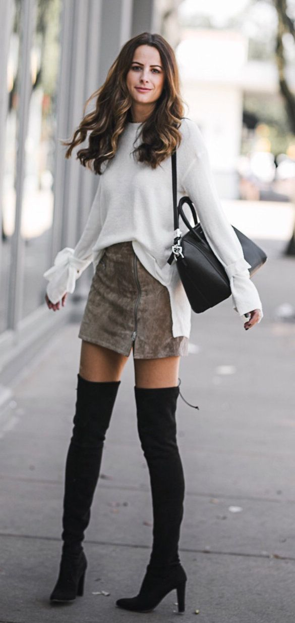 #fall #outfits women's white long-sleeve shirt, brown miniskirt, pair of black suede knee-high boots. Click To Shop This Look.