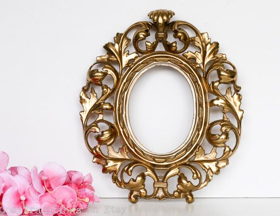 Brass Picture Frame: Vintage Ornate Picture Frame, Oval Photo Frame