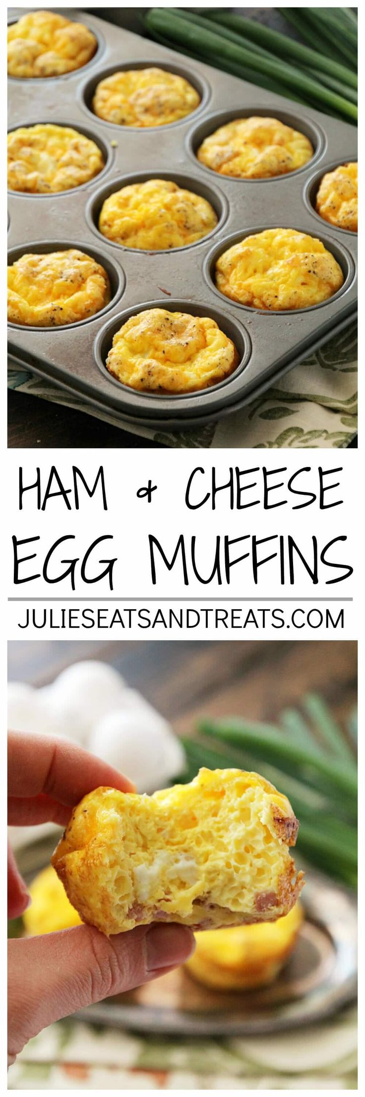 Ham & Cheese Egg Muffins ~ Quick, Easy and Delicious Breakfast or Snack! Fluffy Egg Muffins with Ham & Cheese! via @julieseats