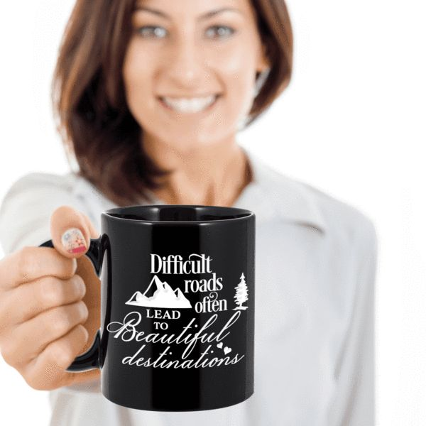Motivational Coffee Mug Christian Inspirational Gift For Men Women Difficult Roads Often Lead to Beautiful Destinations Inspiring Gift Ceramic Faith Coffee Mug Gift We create fun coffee mugs that are sure to please the recipient. Tired of boring gifts that don't last? Give a gift that will amuse them for years!A GIFT T