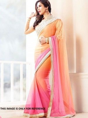 A Multi Shaded Padding Plain Georgette Saree With Broad Lace Border And Worked Net Blouse @ 2049 only