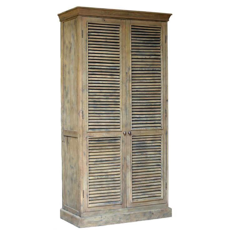 Reclaimed collection shutter armoire reclaimed armoire for Bedroom wardrobe shutter designs