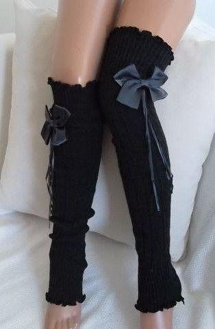 Dark Grey and Gray Ribbon Bow Leg Warmers Boot Socks