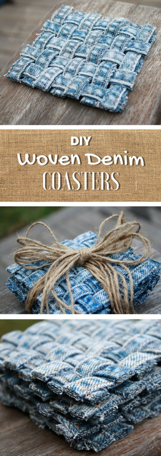 Blue Jean Upcycles – Woven Jean Seam Coasters – Ways to Make Old Denim Jeans Int…