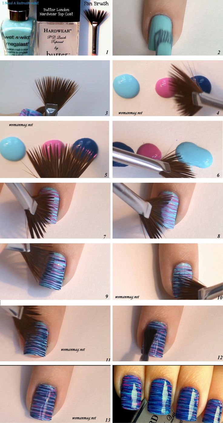 awesome Fan Brush Striped Nail Art - Click on the image to see more
