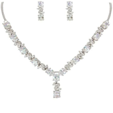 Carly Crystal Earring & Necklace Tear Drop Set