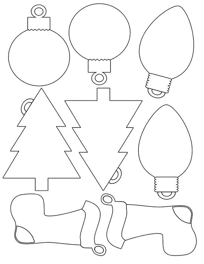 Recursos educativos - Dibujos para colorear Navidad - Decoración Navideña Lámina dedibujo para colorear Siluetas navideñas para el árbol de Navidad Colorea, recorta y cuelga del Árbol
