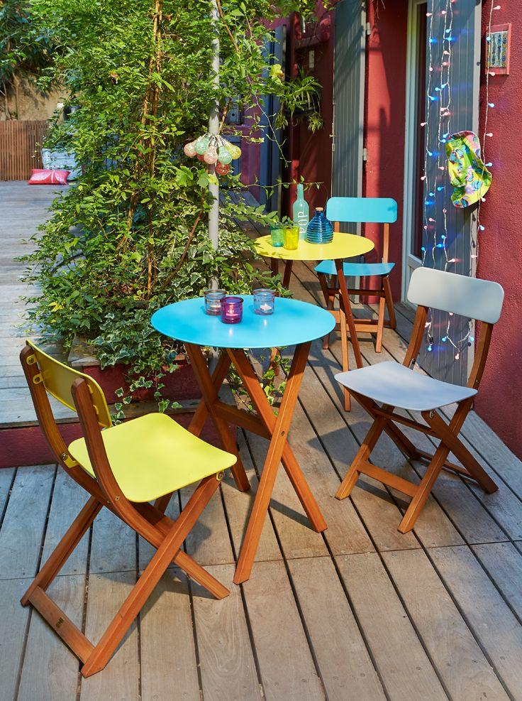 Table de jardin colorée - Alinéa - Jeu concours Pinterest - A gagner : 500€ en bons d'achat ! Jouez sur : https://www.pinterest.com/alinea/jeu-en-exterieur/