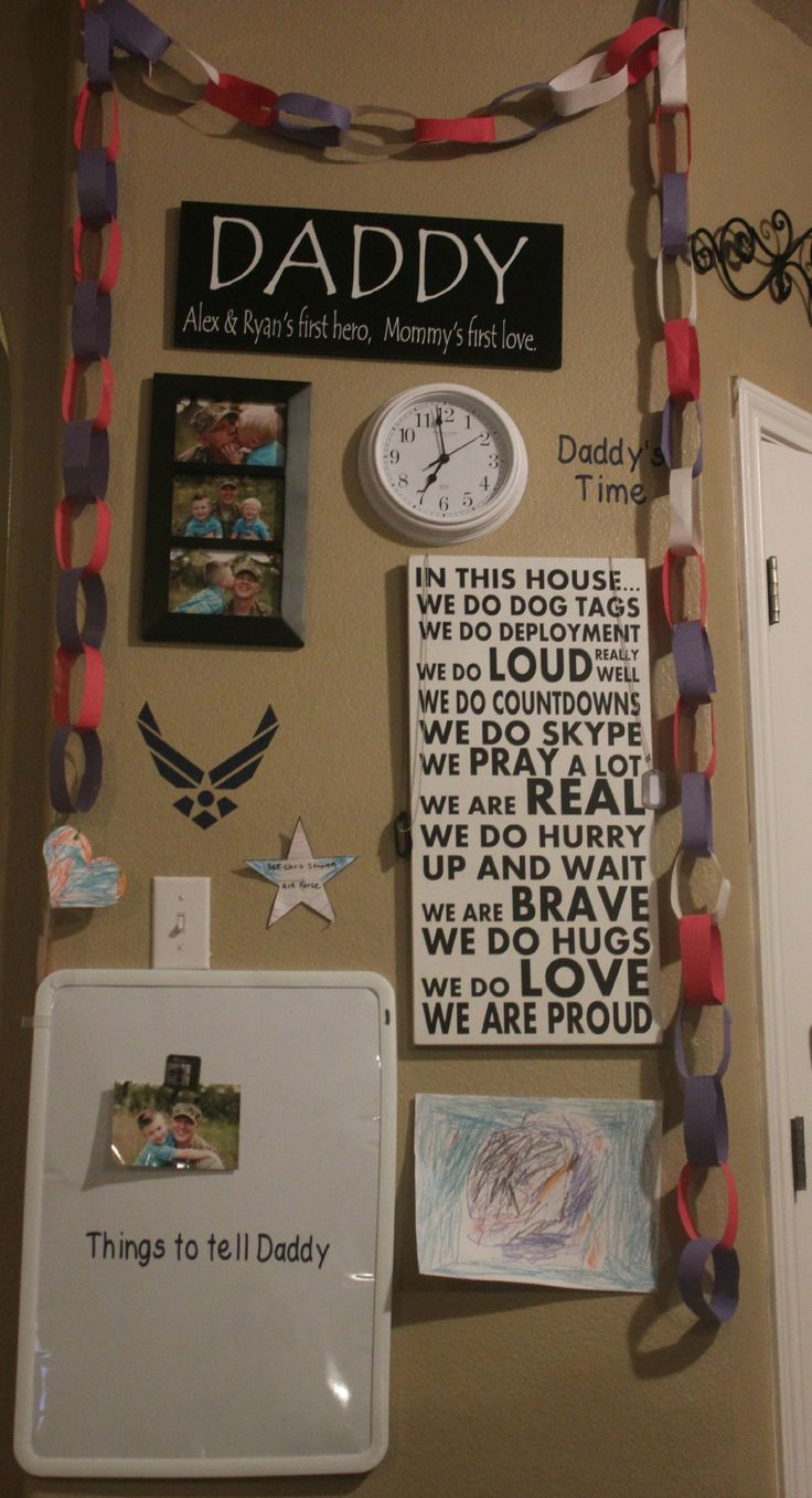 This is my own wall in my home when my husband left this past summer. I make the signs as well. There is also a map below, the kids love to look on the map and love to pull the chains off for every day that passes by. www.facebook.com/sarahsscribbles
