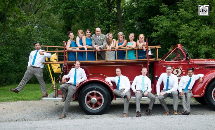 Port Dover Wedding - Although not a fire truck or fireman themed wedding (it was actually a nautical themed wedding) this was a really cool idea and I loved the vintage fire truck.  This truck carried them all around the city and they were able to stand in the back and wave to all the passersby.