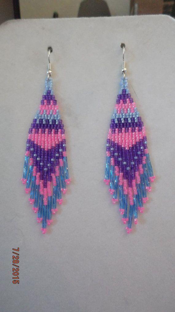 Native American Style Perlen blau lila und rosa Ohrringe Boho