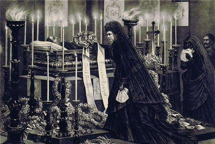 Empress Elisabeth beside the body of her son Rudolf.