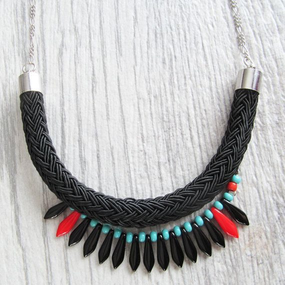 Long necklace on metal chain with black and red by lesperlesrares