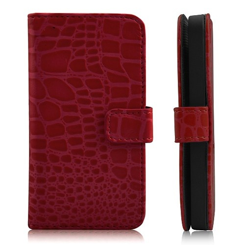 Luxury Crocodile Grain Wallet Leather Magnetic Flip Case For iPhone 5 - Red