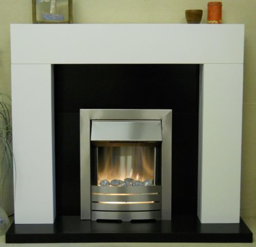 White Electric Fireplace Suite Silver Inset Electric Pebble Fire Black Mantle Ebay Living