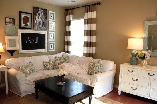 """I could cry I love this room so much. The """"dwell"""" chalkboard, and the curtains...OH THOSE CURTAINS!"""