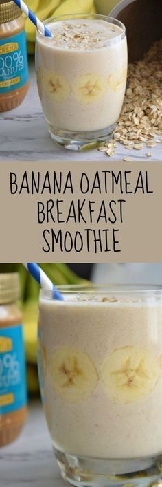 Banana Oatmeal Breakfast Smoothie ~ a quick recipe with oatmeal, banana, peanut butter, milk, and ice cubes, and blended until smooth!