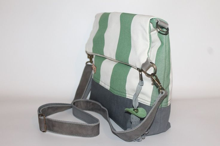 Foldover bag green striped canvas tote unisex cross body bag waterproof everyday bag