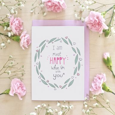 Happy With You Anniversary Greeting Card #pretty #love #flowers #greetingcard