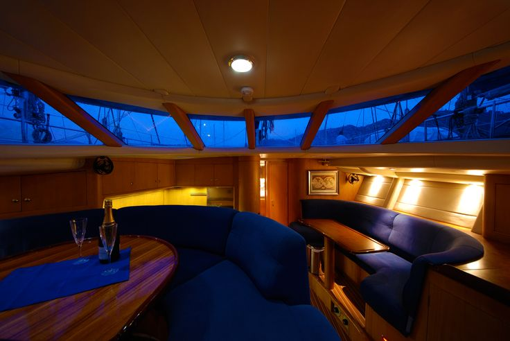 Dibley designed Commander 66 Cruising Yacht.  Raised Saloon looking forward from companionway.