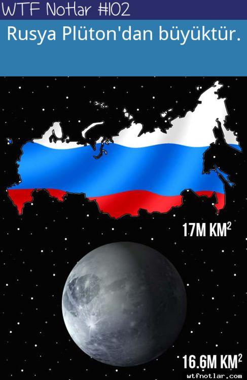 Rusya plüton'dan büyüktür