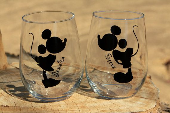 mickey and minnie mouse stemless wine glasses engagement