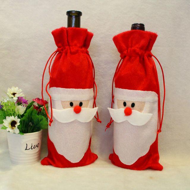 Bolsa de Cubierta de la Botella de Vino rojo de Peluche Lindo de Santa Claus Feliz Navidad Festiva Cena Fiesta de Navidad de la Decoración de Mesa
