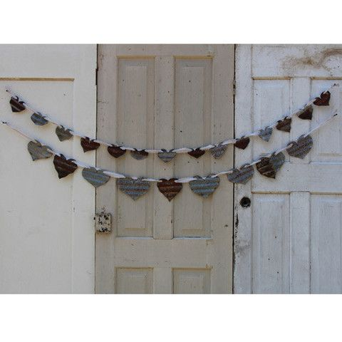 Heart Garland from Recycled Barn Metal