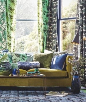 Mix blue and green, and create a lush living room with creature comforts.
