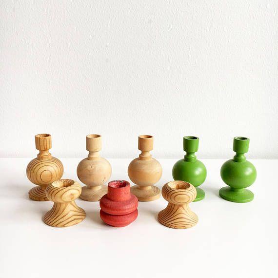 Eight vintage Aarikka Christmas wooden candle sticks  designed