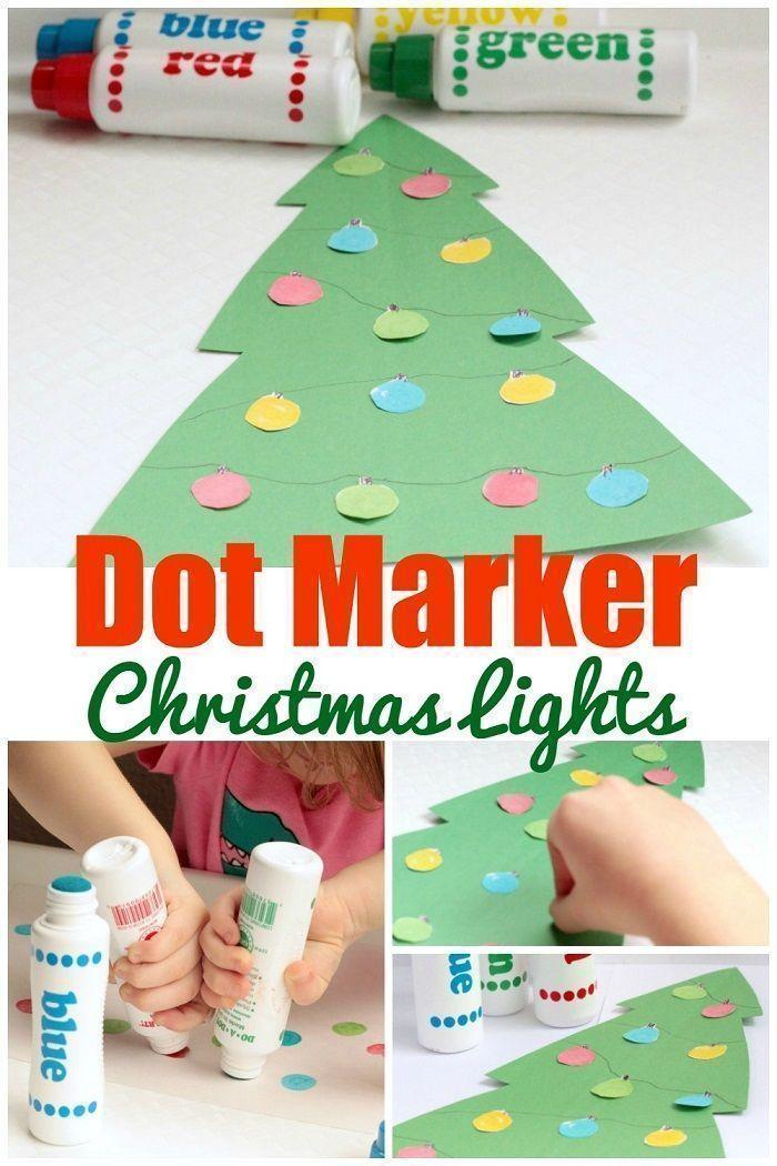 Christmas Crafts for Kids Dot Marker Christmas Tree Lights Craft