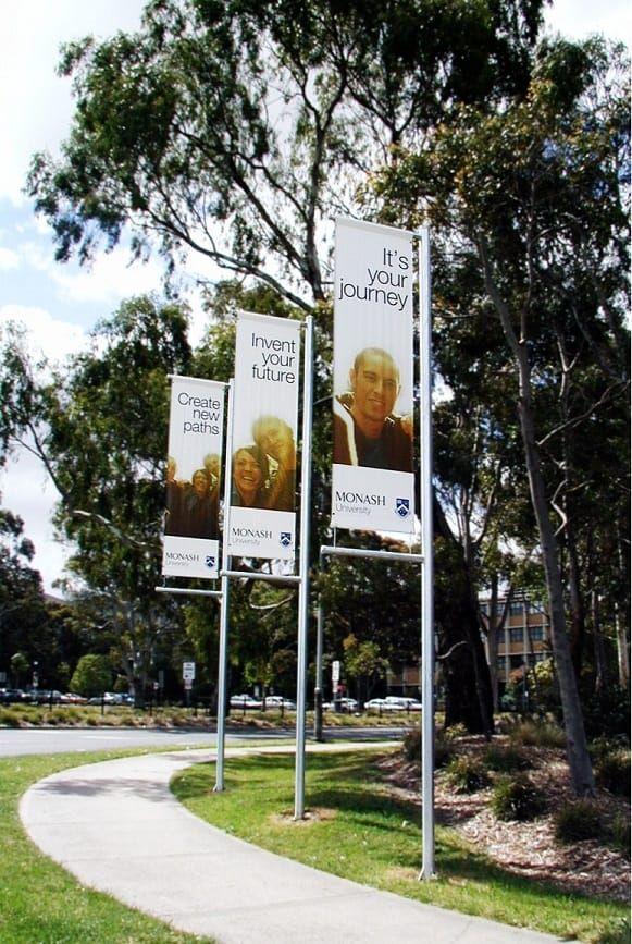 Banner poles for Monash University.