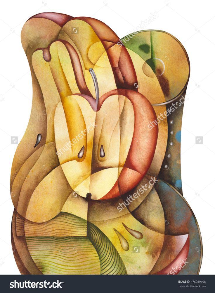 Cubist Fruit by Eugene Ivanov  #eugeneivanov #cubism #avantgarde #threedimensional #cubist #artwork #cubistartwork #abstract #geometric #association #@eugene_1_ivanov