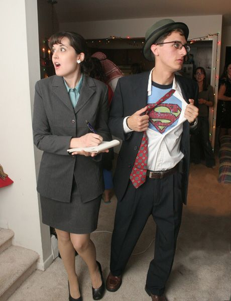 Clark Kent and Lois Lane costumes, how cute!