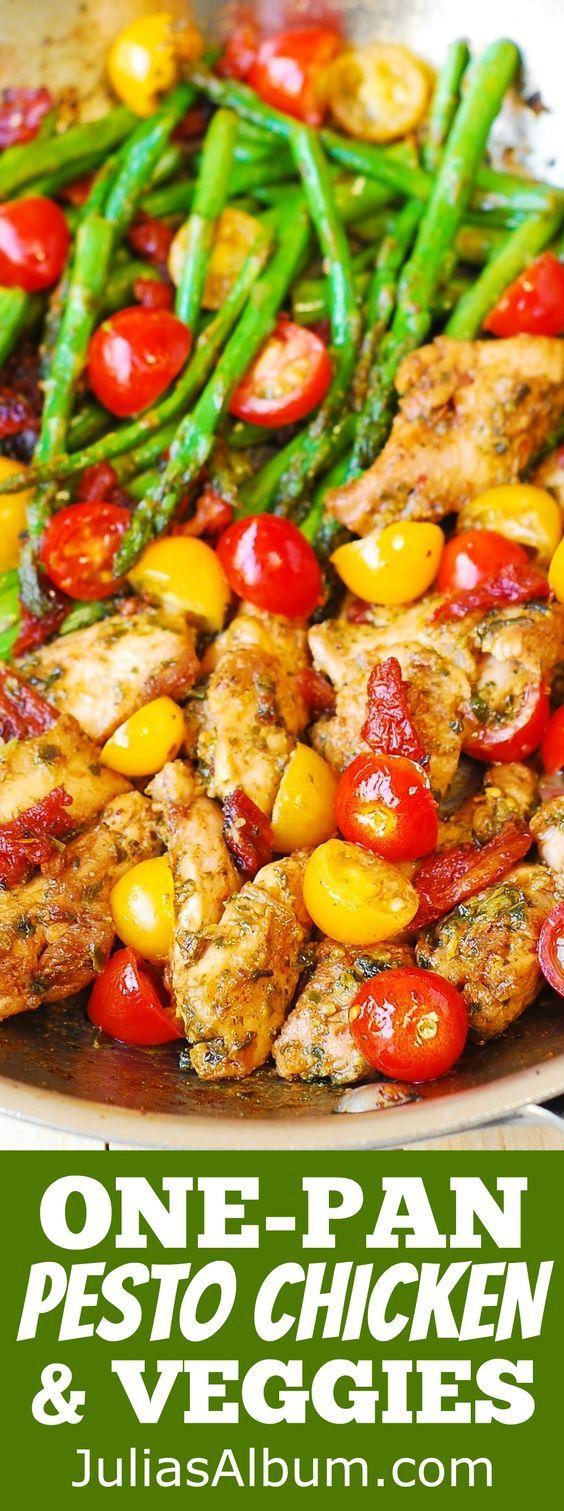 OnePan Pesto Chicken and Veggies – Healthy gluten free Mediterranean diet Italian recipe easy chicken dinner