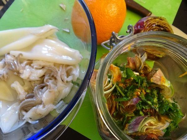 Calamari e carciofi all'arancia
