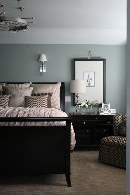 Fascinating Wall Colors for Small Rooms with Soft Accents: Unusual Black Bed And Cream Quilt In The Bedroom With Grey Wall Colors For Small ...