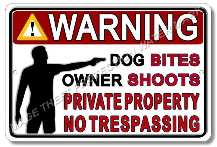 "Warning Private Property Owner Shoots Gun Pistol Security Sign Aluminum 8"" x 12""…"