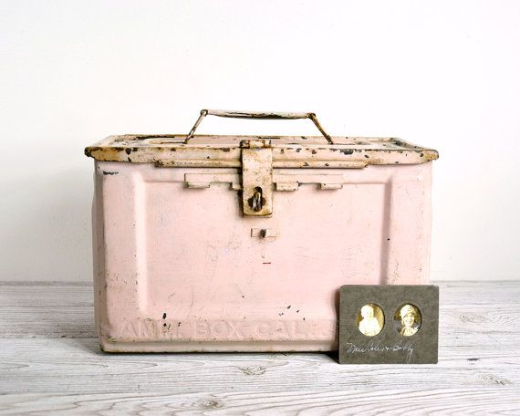 Vintage Metal Storage Box / Industrial Storage by havenvintage, $34.00