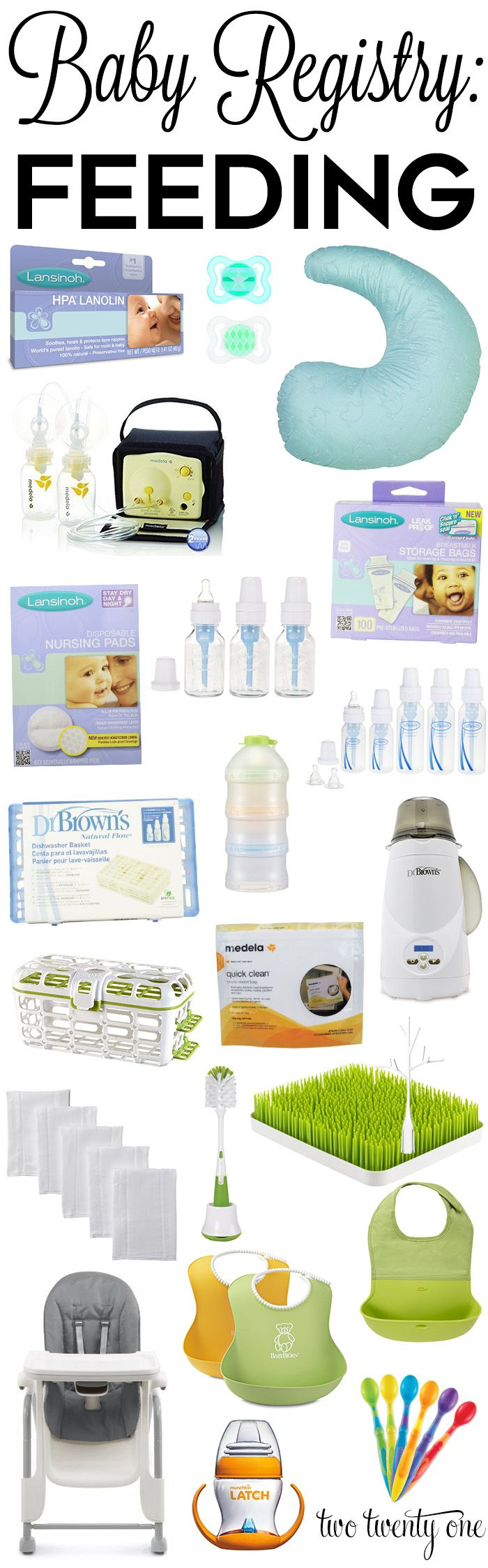 Must have baby registry feeding products! From bottles to bibs, these are the most popular feeding products to include on your baby registry.