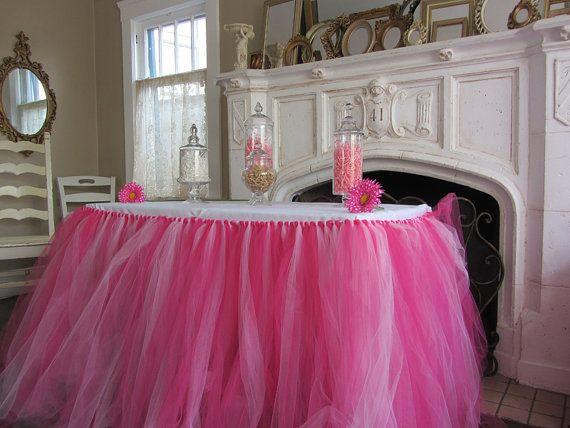 Custom Tulle Tutu Table Skirt  Pinks by PinkSugarTutus on Etsy, $65.00