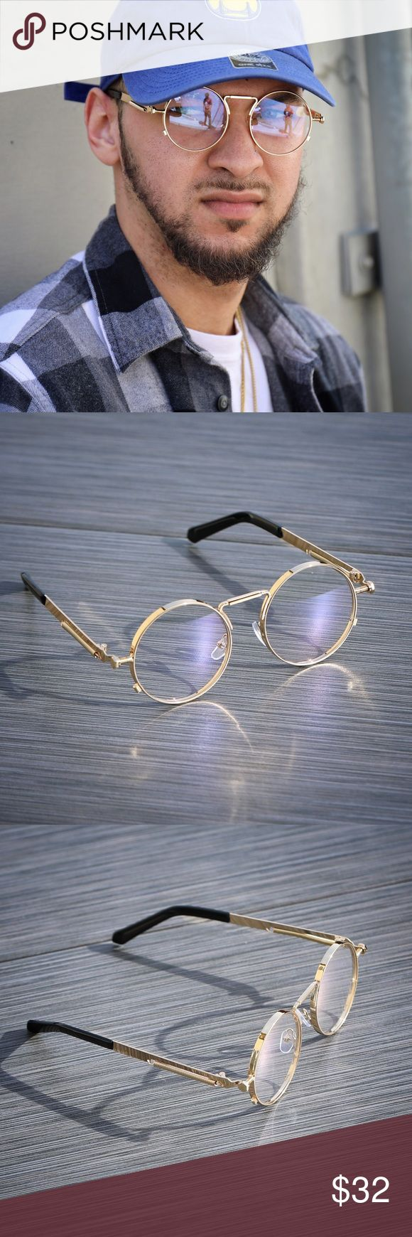 Mens Hip Hop Round Gold Frame Clear Eye Glasses Round Gold Frame Mens Clear Eye Glasses  Frame Material: Alloy Lens Width: 50mm Lens Height: 50mm  Lens Material: Polycarbonate Ts Verniel Accessories Glasses